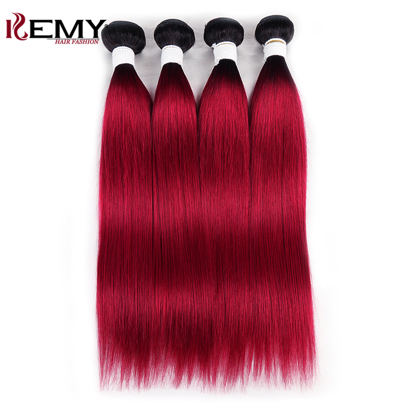 4 Bundles Human Hair 1B/Burg  Dark Root Ombre Red Brazilian Straight Human Hair Weave Bundles KEMY HAIR Non-Remy Hair Weaving