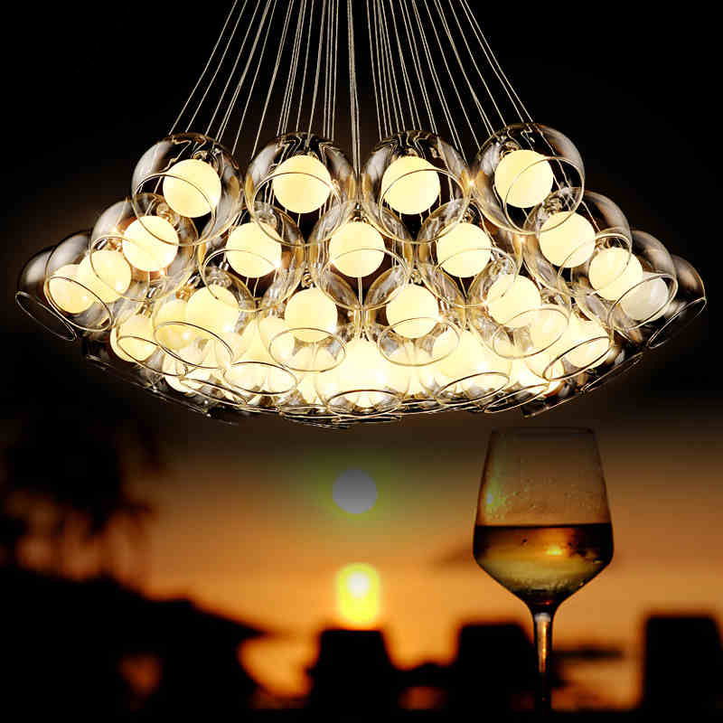 Simple Modern Art Bubble Ball Glass Chandelier Lighting