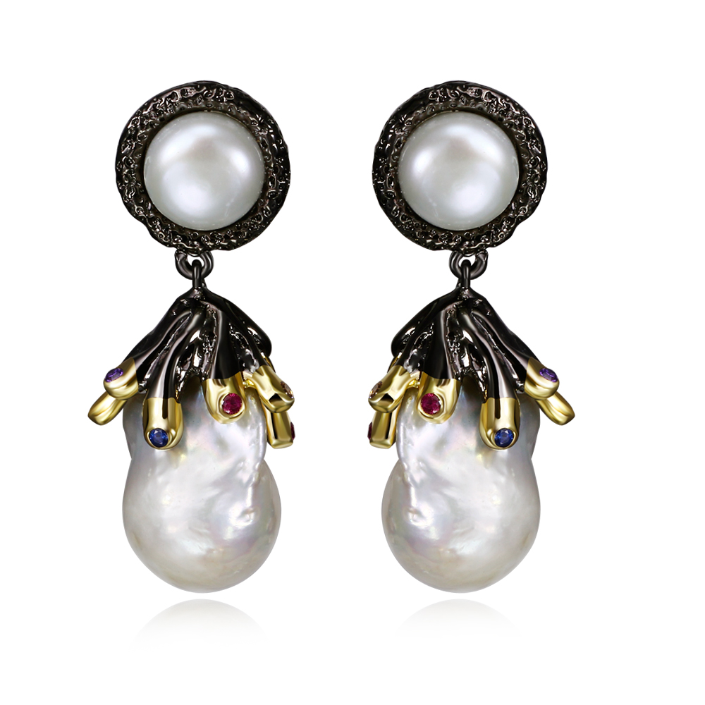 New Fresh Pearl Earrings Made With Irregular Pearl And Aaa Cubic Zirconia  Allergy Free Drop Earrings Pearl Jewelry