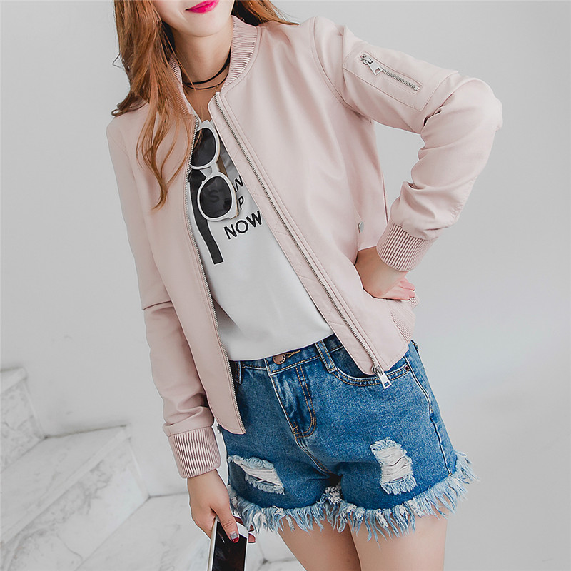 2017 Newest Spring Faux Leather Bomber Motorcycle Coat Young Girls Jackets Female Pink Blue Black PU Leather Jacket