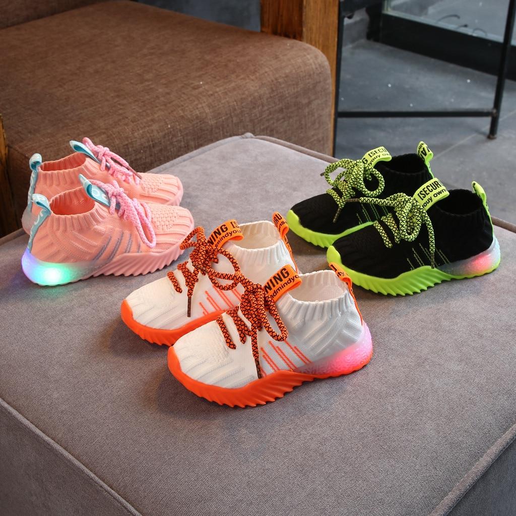 Toddler Infant Kids Baby Girls Boys Mesh LED Light Luminous Sport Shoes Sneakers Toddler Baby Flashing Lights Fashion Sneakers