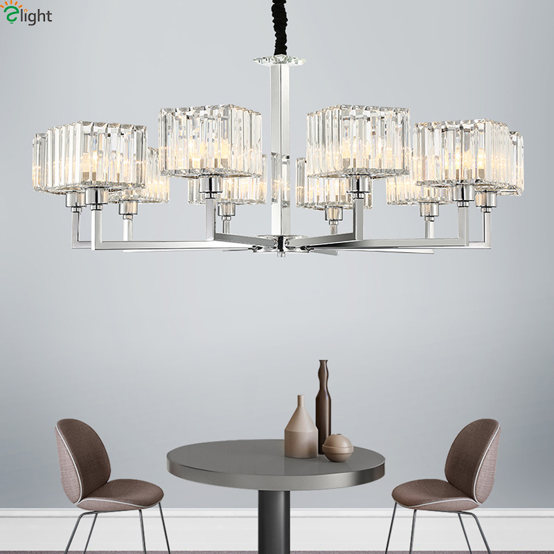 Modern Led Chandeliers Lighting Chrome Metal Living Room Led Pendant Chandelier Lights Glass Dining Room Hanging Light FixturesModern Led Chandeliers Lighting Chrome Metal Living Room Led Pendant Chandelier Lights Glass Dining Room Hanging Light Fixtures