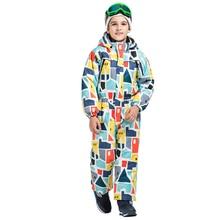 2018 winter children's new ski suit warm and windproof anti-static children's Siamese snow suit children's outdoor sportswear