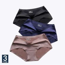 3pcs/lot, Seamless Ice Silk Panties Sexy Underwear Women Transparent For Girls Bikini Panty Plus Size Mid-rise Briefs