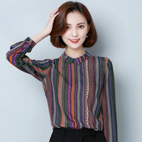 2018 Women Autumn Multicolor Striped Button Blouse Shirts Vintage Peter Pan Collar Office Tops Long Sleeve