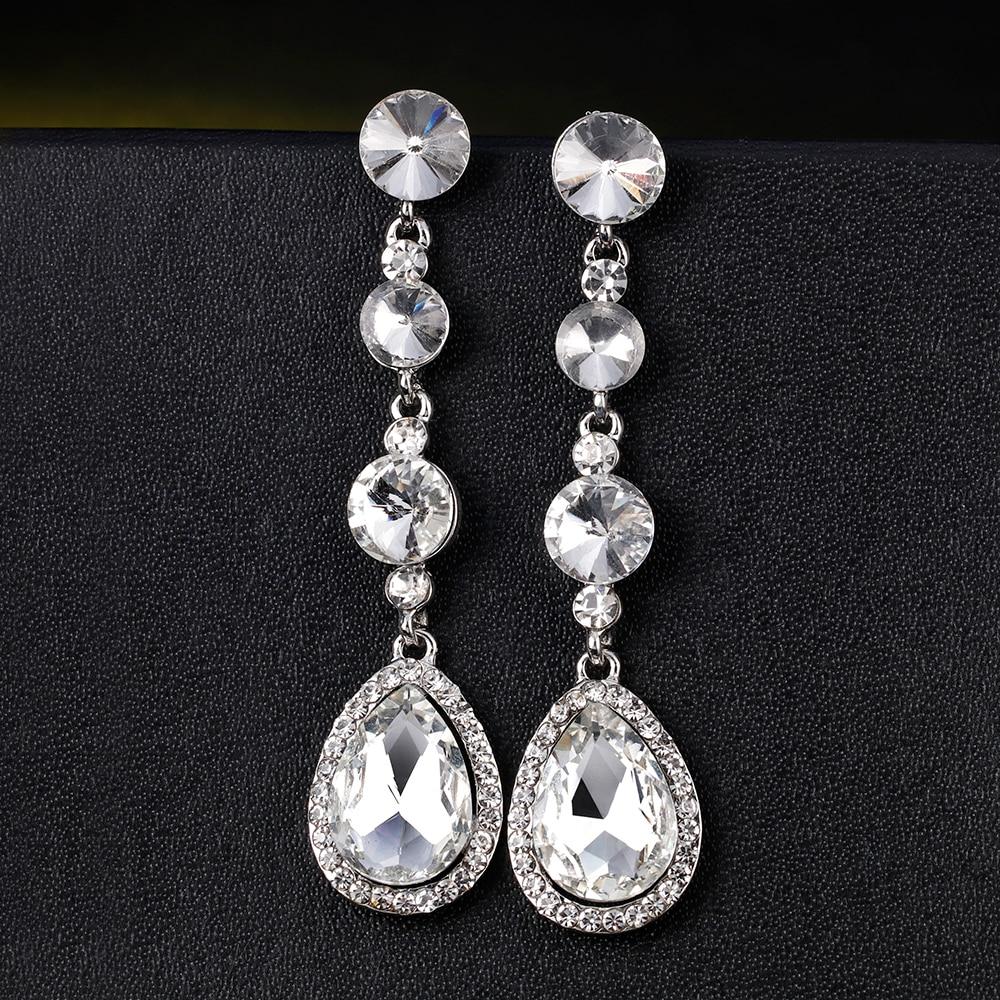 2018 Romantic Rhinestone water drop Earrings For Women Elegant Silver Color geometry Long Earrings Costume Wedding Jewelery