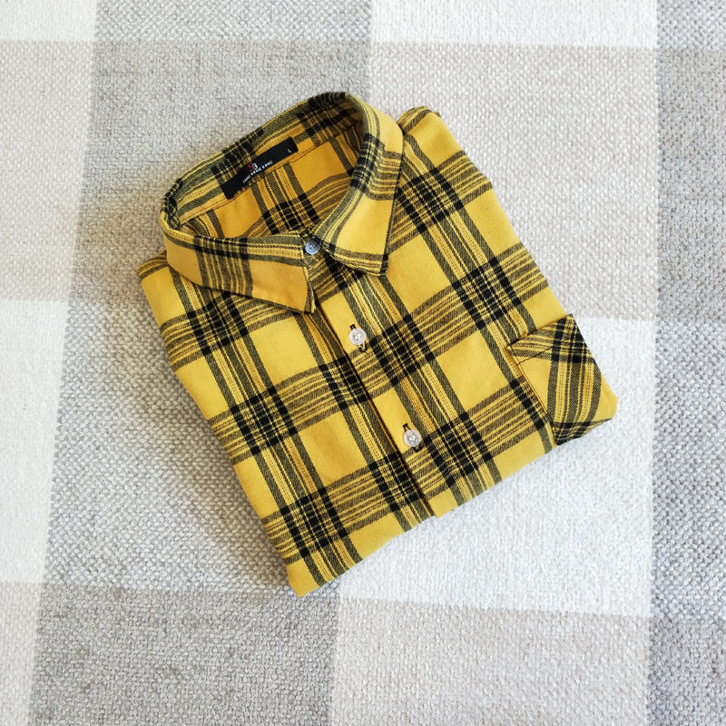 100% COTTON ženska majica karirasto rumena obleka z dolgimi rokavi ženski vrhovi poceni oblačila porcelanasta bluza, priložnostna majica ženska oblačila