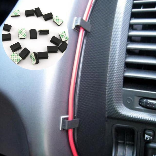 40pcs Adhesive Car Cable Clips Cable Winder Drop Wire Tie Fixer Holder Organizer Management Desk Wall Cord Clamps