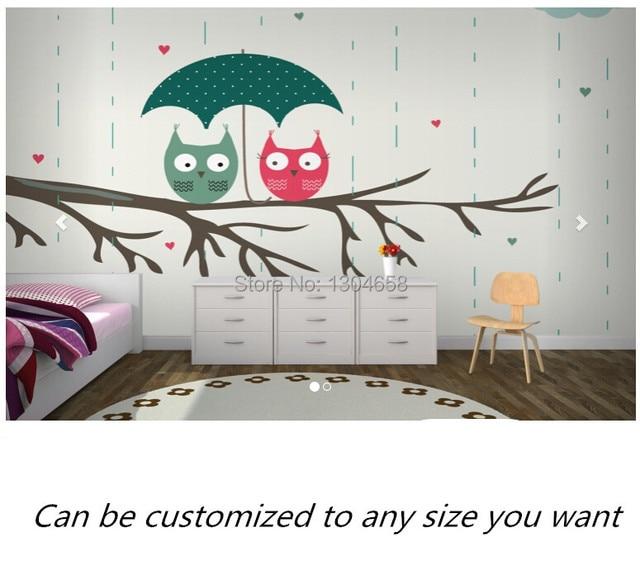 Free Shipping Custom 3D Cute Owls Wallpaper Mural Modern Television Sofa Bedroom Wall