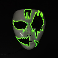 New arrival Carnival terror glowing EL wire Mask, Night Flashing ghost Mask LED Neon Glowing Party Halloween Supplies