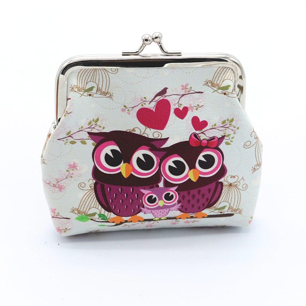 1pcs cute owl pattern leather coin purses zipper zero wallet child girl boy women purse,lady coin bag key packet drop ship