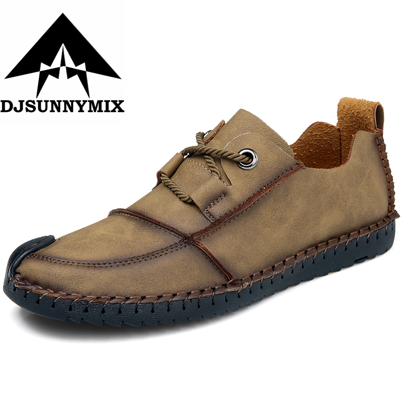 DJSUNNYMIX Brand Fashion British Style Men Causal Shoes  Four Season  Genuine Leather handmade men Flats Shoes plus size 38-46 2017 new autumn winter british retro men shoes zipper leather breathable sneaker fashion boots men casual shoes handmade