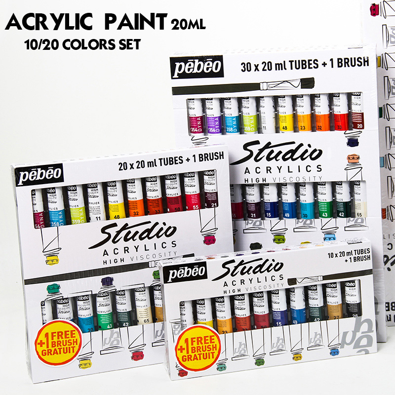 цена на Professional 20ML Pebeo Acrylic Paint Set Color Art Painting paint for fabric Nail Clothing Wood Drawing For artist art supplies