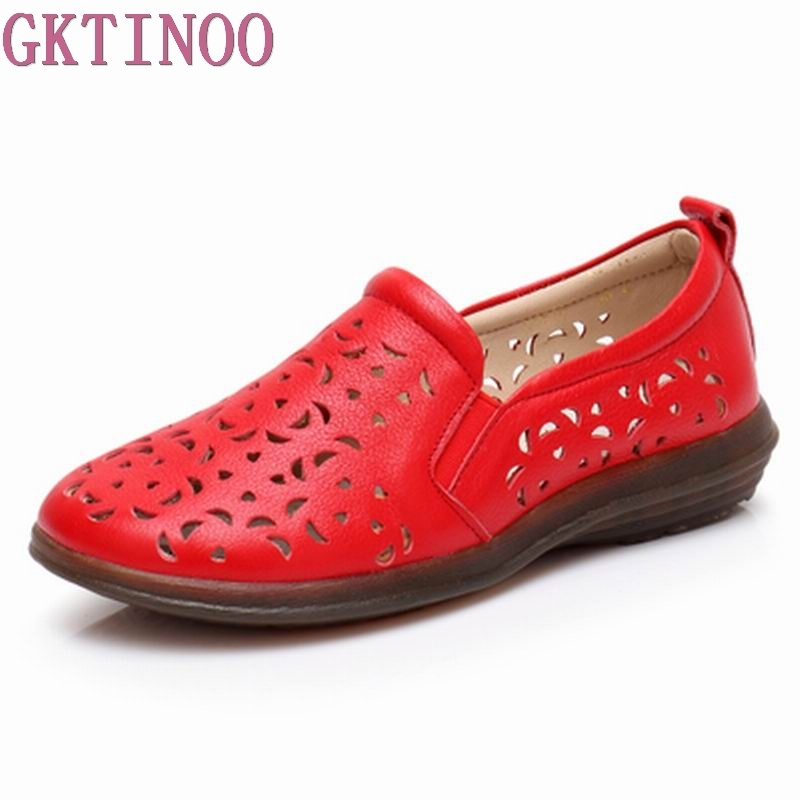 GKTINOO Women's Casual Shoes Genuine Leather Woman Loafers Breathable Summer Shoe Flats with Hollow Out Mother Shoes Big Size 41 hollow out breathable women sandals bowtie loafers sweet candy colors women flats solid summer style shoes woman st6 29