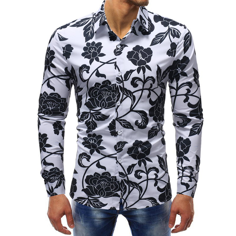 M-5XL Men Clothes 2018 New Autumn Men Fashion 3D Print Flower Casual Business Long Sleeve Camisa Masculina Hawaiian Shirt