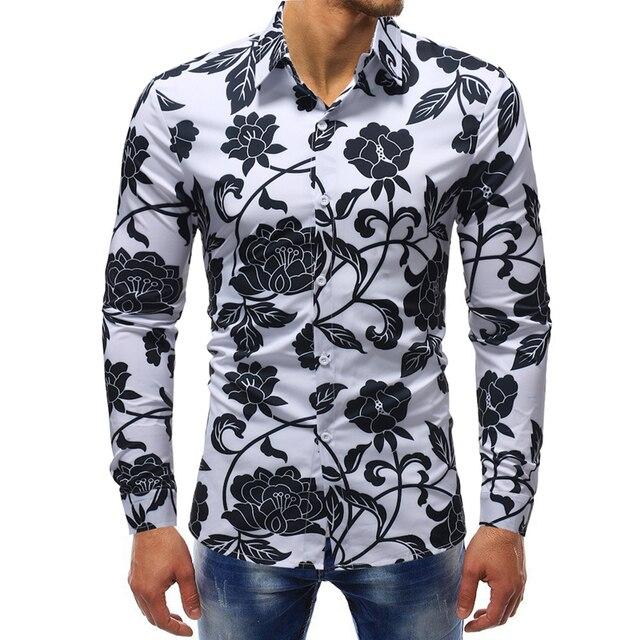 f25610ec1 M-5XL ropa de hombre 2018 nuevo otoño hombres moda 3D estampado flor Casual  negocios