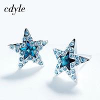 Cdyle Kristalle Von Swarovski Ohrstecker Blue Star-form Frauen Ohrringe Mode Eleganten Schmuck Österreichischen Strass Bijous