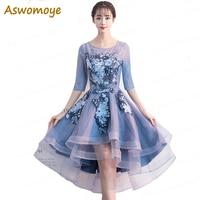 Short Homecoming Dresses 2018 Blue Formal Dresses Asymmetrical Illusion O Neck Wedding Party Dress Half Sleeve Appliques Flower