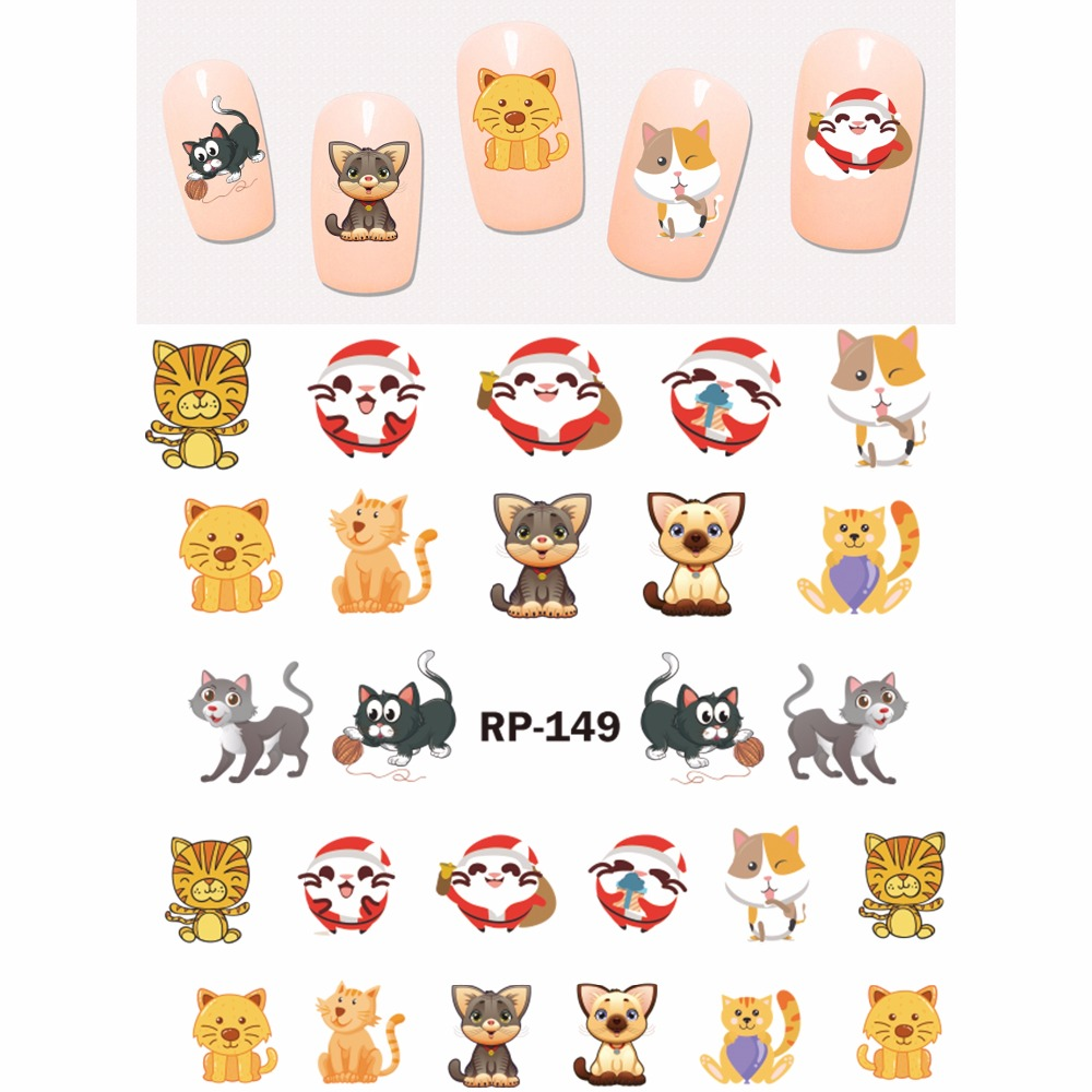 Image 3 - UPRETTEGO NAIL ART BEAUTY NAIL STICKER WATER DECAL SLIDER CARTOON ANIMAL KANGAROO RACCOON CAT XMAS HEDGEHOG RP145 150-in Stickers & Decals from Beauty & Health