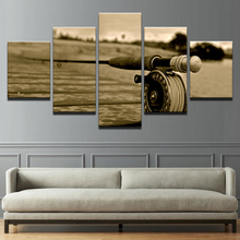 Framework Wall Art Canvas Paintings Fly Rod Living Room Decor Poster Landscape 5 Piece Fishing Modular Retro Pictures