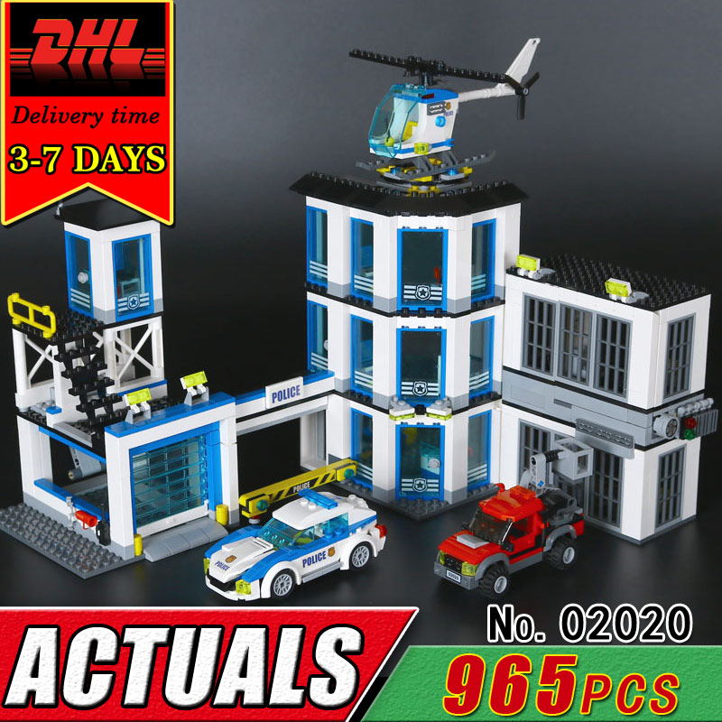 DHL LEPIN 02020 City Series The New Police Station Model Building Blocks Set Compatible 60141 Educational Bricks Children Toys lepin 02006 815pcs city police series the prison island set building blocks bricks educational toys for children gift legoings