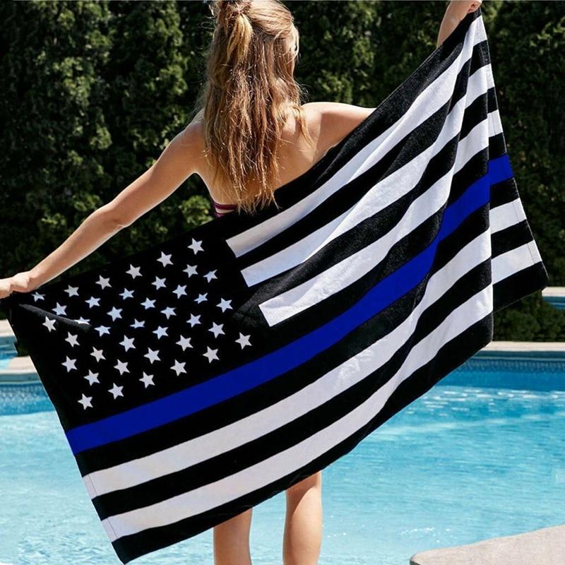 Trendy Black White Blue Line US Flag Beach Towel Micorfiber American Star-strip Flag Towel Patriotic USA Men Women 35X75 70X140