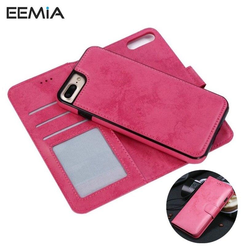 EEMIA крышка для iPhone 6 силиконовый чехол ТПУ + искусственная кожа съемный кошелек телефона Чехлы для iPhone 6 s и 6 Plus Fundas Hoesjes