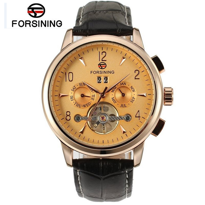 Forsining New 2017 Casual Mens Men's Watch Gold Day Tourbillon Auto Mechanical Watches Wristwatch  Gift Box Free Ship