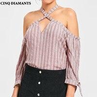 CINQ DIAMANTS Spalle Tops Camicetta Sexy Delle Donne Della Banda Camicie Blusas Mujer Ropa poleras Femme Chemise Camisas