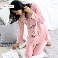 Fashion Women Pink Plaid Sleepwear Long Sleeve Autumn Sleep Lounge Cotton Pajamas Set Casual Funny Letters Pijama Home Clothing