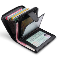 WILLIAMPOLO 2018 Genuine Leather Men Cion Purse Credit card bag Multi function Wallet Card Holder Hasp Small Wallet Black PL319