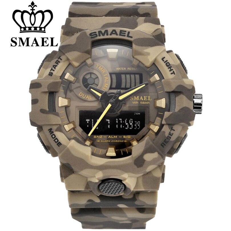 Reloj deportivo SMAEL relojes militares hombres ejército Digital Reloj de escritura LED 50 m reloj de hombre resistente al agua reloj de regalo para hombre envío gratis