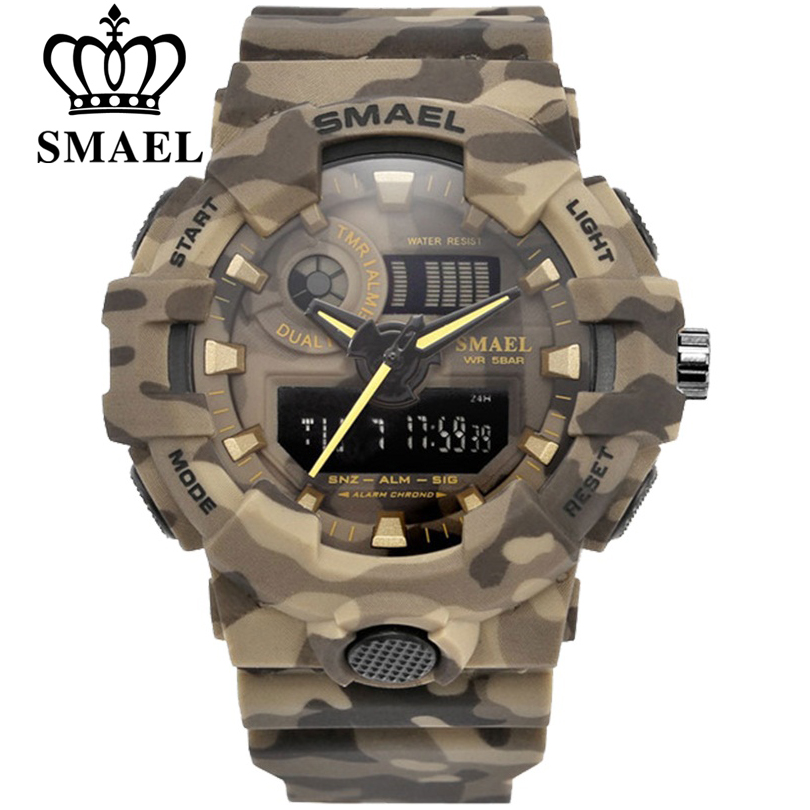 SMAEL Sport Watch Military Watches Men Army Digital Writwatch LED 50m Waterproof Men's Watch Man Watch Gift Colcks Free Shipping
