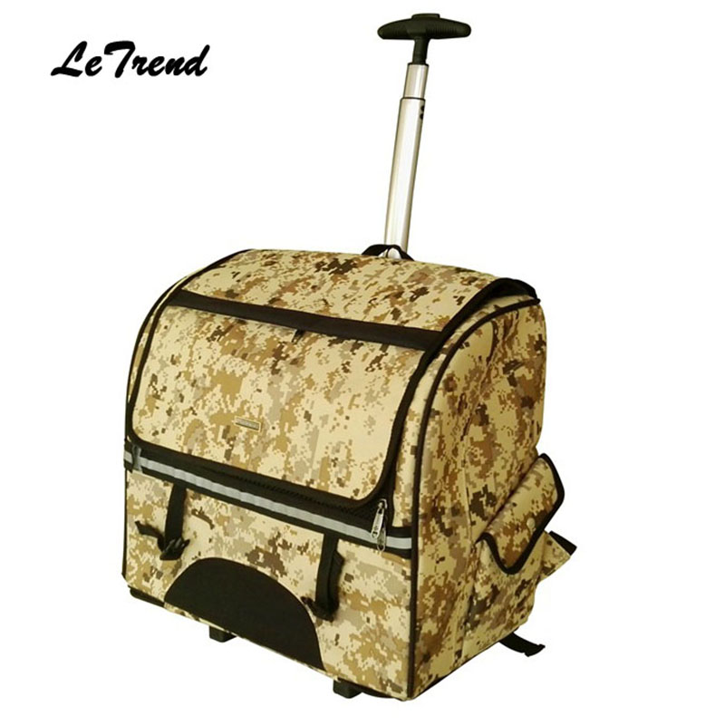 Letrend Camouflage Multifunction pet Rolling Luggage Casters Trolley Cabin Wheels Suitcases Travel Bag Women's Backpack