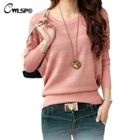 New Fashion Women Solid Hollow Bat Loose Round Neck Long Sleeved Pullover Sweater LY137