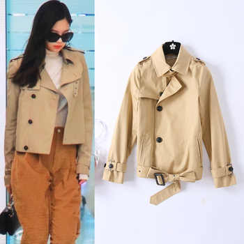 British 2019 Spring New Women\'s Slim Short Trench Coat Female New Trenches - DISCOUNT ITEM  20% OFF Women\'s Clothing