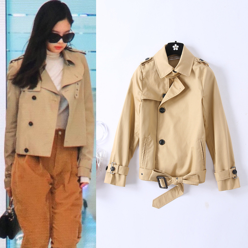 British 2019 Spring New Women's Slim Short   Trench   Coat Female New   Trenches