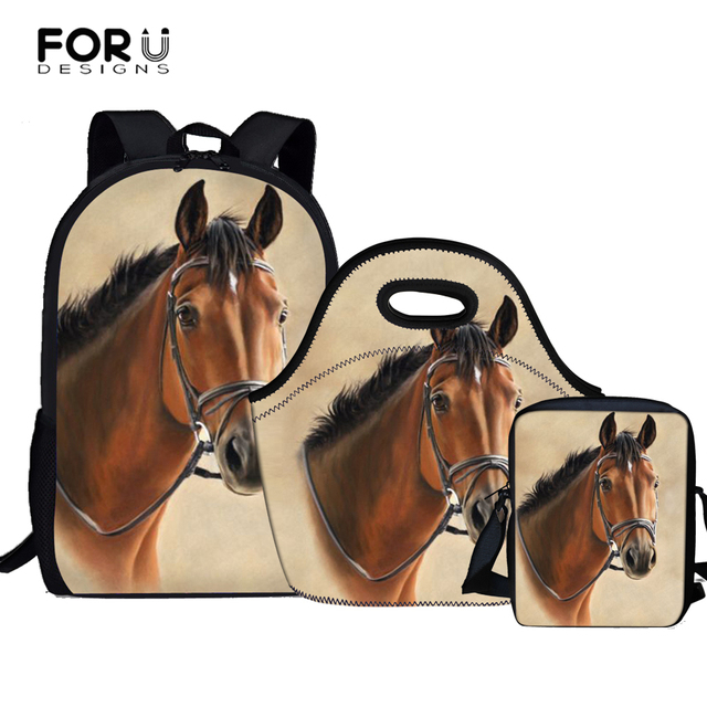 87c402fc4a41 FORUDESIGNS Horse Satchel School Bags 3 Set  pcs School Orthopedic  Backpacks for Children Schoolbag Girls mochilas Escolares -in School Bags  from ...