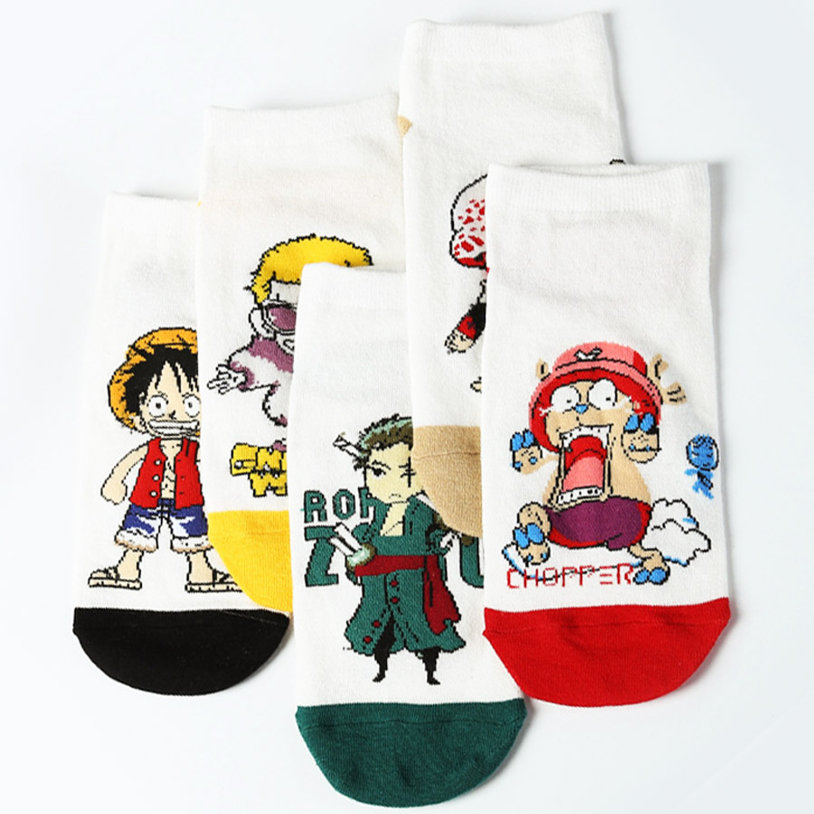 10 Pairs Japan Anime Cartoon One Piece Combed cotton socks Luffy Nami Robin Cosplay socks funny Unisex casual personality socks