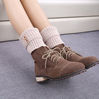 1 Pair Kniting Winter Leg Warmers For Women Trendy Knitted Button Crochet Knit Boot Socks Women