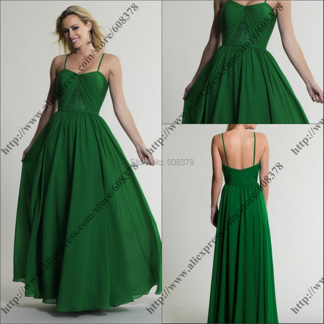 Hot Sale Emerald Green Maxi Chiffon Gown With Lace Plus Size Vestido ...
