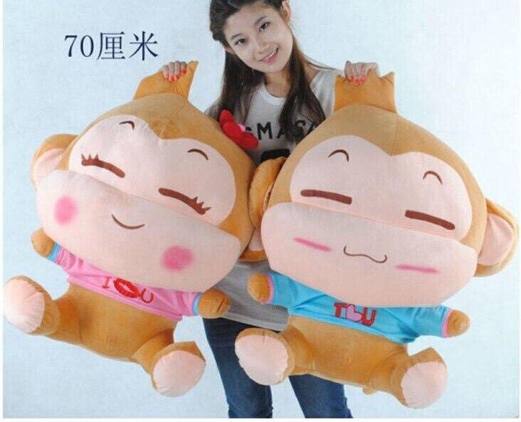huge 70cm lovely monkey plush toy yoyo and cici monkeys dolls,throw pillow,  Christmas gift w6121 70cm lovely monkey plush toy cici monkey doll throw pillow birthday gift w6290