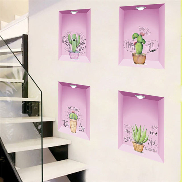 3d effect Colorful Flower Floral 3d plant Wall Sticker Decals Home ...