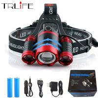 Super brillante LED faro 3 * T6 Zoom LED linterna Linterna + 2*18650 batería + AC/coche/USB cargador