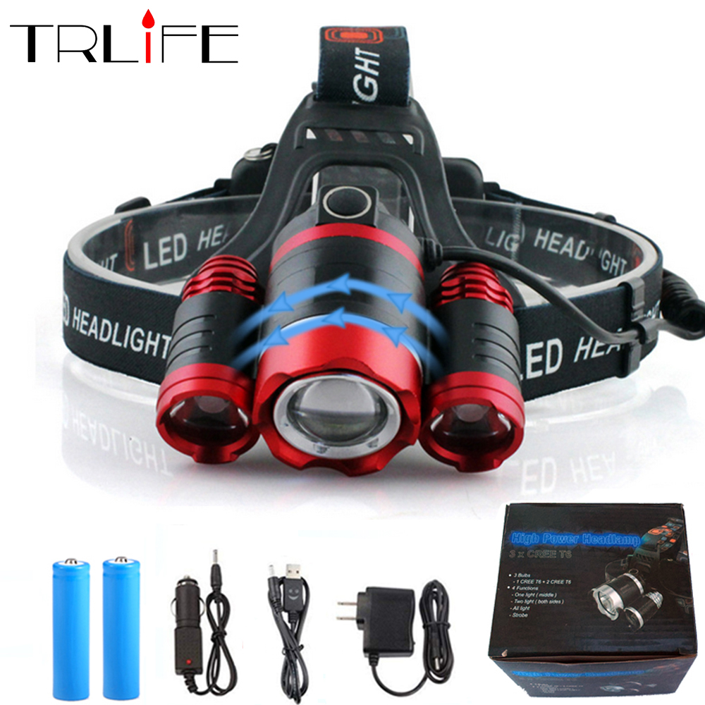 Super Bright LED Headlight 3*T6 Zoom LED Headlamp Flashlight Torch Head Lights Lamp+2*18650 Battery+AC/Car/USB Charger