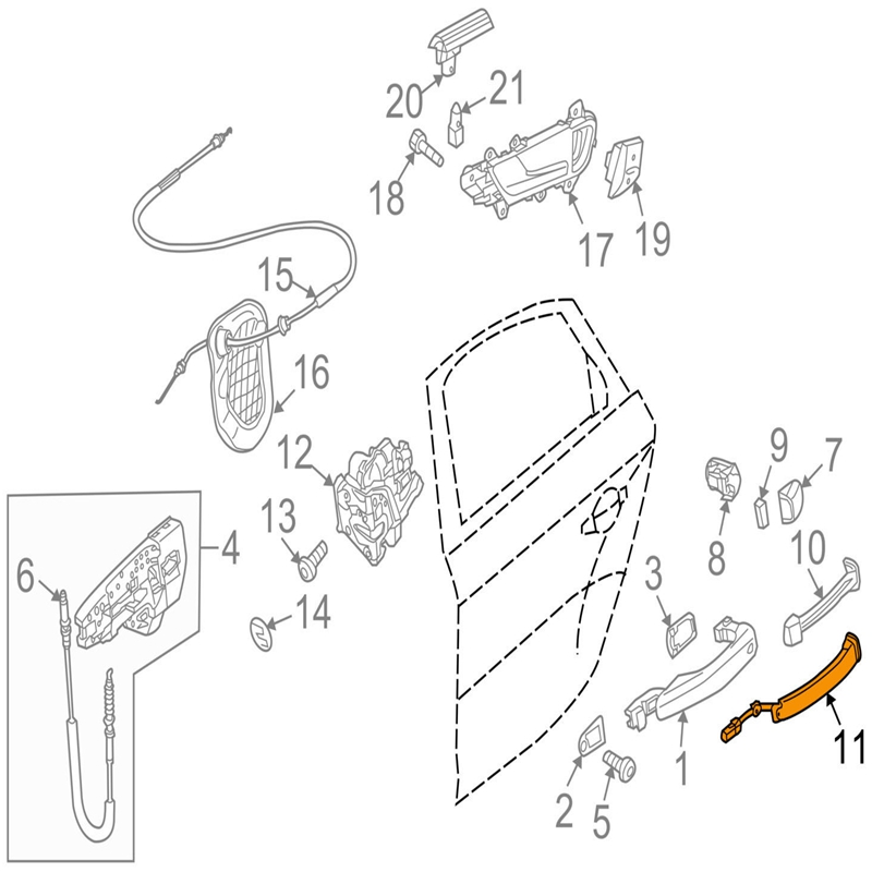 Larbll Exterior Door Handle Bar Sensor Pin Switch 4g8927753 For Audi