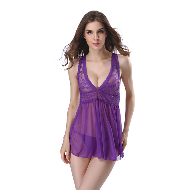 6abc8ad99 Sexy Sleepwear Lace Nightgowns Women Night Gown Vintage Hot Sexy Lingerie  Underwear Female Night Dress Nightwear Plus Size XXL