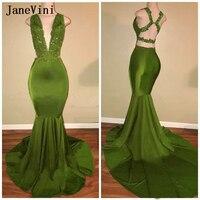 JaneVini Sexy African Mermaid Long Evening Dresses Deep V Neck Sleeveless Appliques Beads Backless Satin Dress Robe Soiree Femme