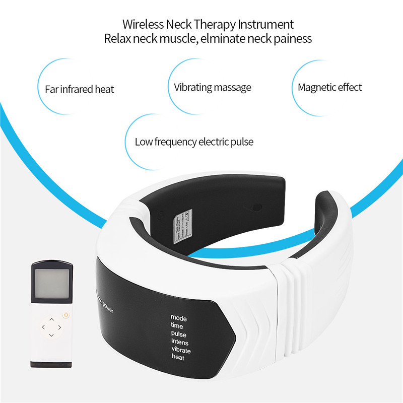 Far Infrared Heat Neck Massager Low Frequency Pulse Cervical Vertebra Therapy Instrument Remote Control Magnetic Neck