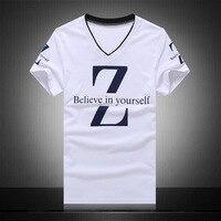 Summer T Shirt Men 2016 Fashion Brand Clothing 80 Cotton High Quality Printed Word V Neck